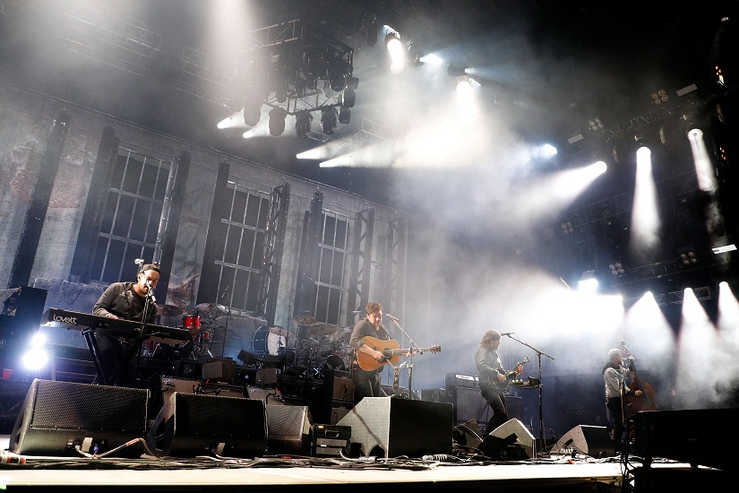 BOSTON, MA - MAY 27: Ben Lovett, Marcus Mumford, Winston Marshall, and Ted Dwane of Mumford & Sons perform during the 2017 Boston Calling Music Festival at Harvard Athletic Complex on May 27, 2017 in Boston, Massachusetts. (Photo by Taylor Hill/Getty Images for Boston Calling Music Festival) *** Local Caption *** Ben Lovett;Marcus Mumford;Winston Marshall;Ted Dwane