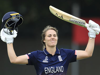 England's Natalie Sciver celebrates after reaching her maiden century against Pakistan . AP