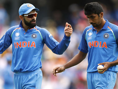 India v South Africa - 2017 ICC Champions Trophy Group B - The Oval - India's Virat Kohli (L) and Jasprit Bumrah. Reuters