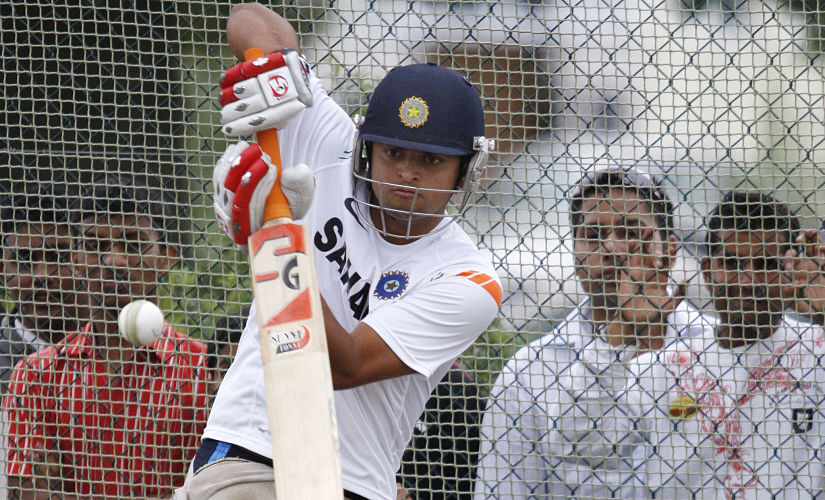 India's Suresh Raina practices his batting in the nets ahead of their one day international cricket test match against New Zealand in Hamilton March 10, 2009. REUTERS/Nigel Marple (NEW ZEALAND SPORT CRICKET) - RTXCKIQ