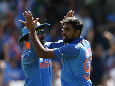 Ravichandran Ashwin celebrates after taking a wicket during India's Group B clash against South Africa. Reuters
