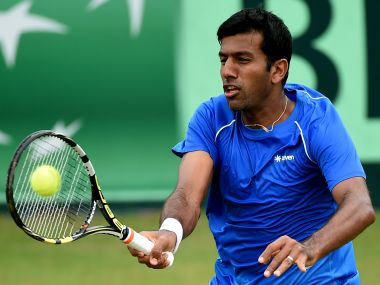 India's Rohan Bopanna plays a return during his singles match against South Korea's Hong Chung on the third day of the Davis Cup Asia Oceania group one, round two tie between India and South Korea in Chandigarh on July 17, 2016. / AFP PHOTO / MONEY SHARMA