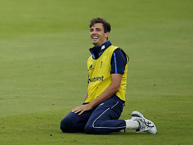 England's fast bowler Steven Finn during a practise session Reuters