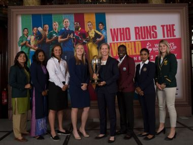 The eight captains with the ICC Women's World Cup trophy. Image courtesy: Twitter/@Cricketworldcup