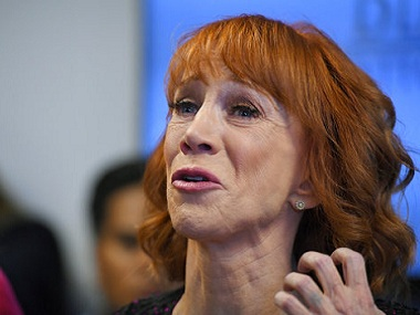 Comedian Kathy Griffin speaks during a news conference, Friday, June 2, 2017, in Los Angeles, to discuss the backlash since Griffin released a photo and video of her displaying a likeness of President Donald Trump's severed head. (AP Photo/Mark J. Terrill)
