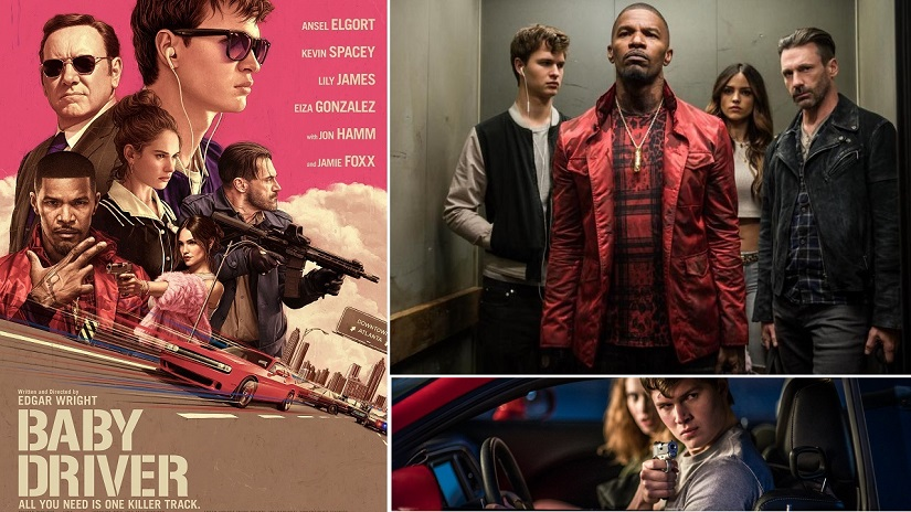 Poster and stills from Baby Driver. Images via Twitter