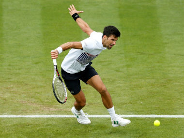 Novak Djokovic in action against Donald Young in the Eastbourne International. Reuters