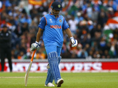 MS Dhoni walks back after being dismissed against Sri Lanka in Champions Trophy 2017. Reuters