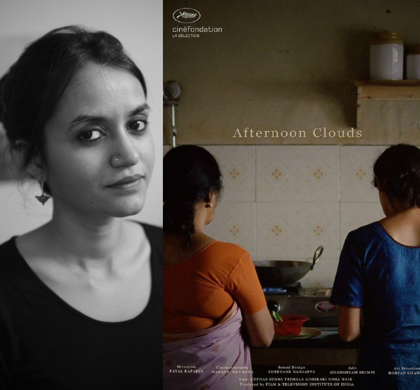 Payal Kapadia and the poster of Afternoon Clouds