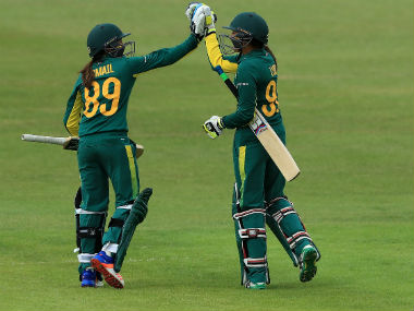 South African batters celebrate during their Women's World Cup match against Pakistan. Image courtesy: Twitter/ @ICC