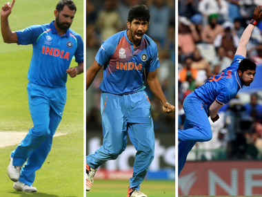 Indian pacers (L-R) Mohammad Shami, Jasprit Bumrah and Umesh Yadav. AFP