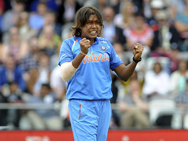 India's Jhulan Goswami celebrates after dismissing England's Natalie Sciver during the ICC Women's World Cup 2017 final match between England and India at Lord's in London, England, Sunday, July 23, 2017. (AP Photo/Rui Vieira)