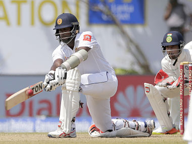 Sri Lanka's Dilruwan Perera plays a shot during the third day's play of the first Test. AP