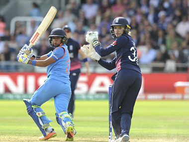 India's Harmanpreet Kaur during her innings in the final against England on Sunday. AP