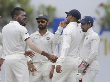 India players celebrate a wicket during the third day's play of the first Test. AP