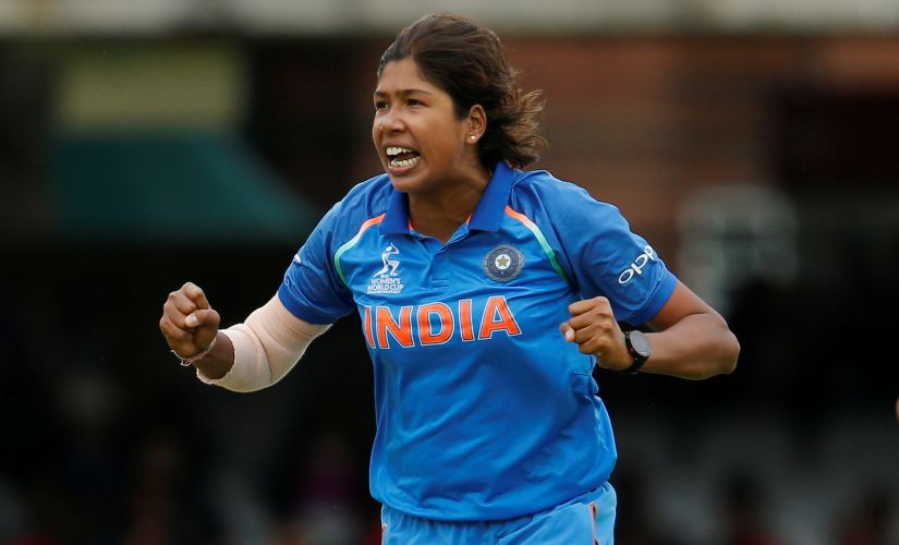 India's Jhulan Goswami celebrates after dismissing England's Sarah Taylor. Reuters