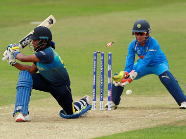 Sri Lanka's Chamari Athapaththu is bowled out by India's Poonam Yadav. Reuters