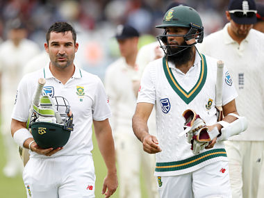 South Africa's Dean Elgar and Hashim Amla return unbeaten on at the end of play Action Images via Reuters/Carl Recine - RTX3BLJ3