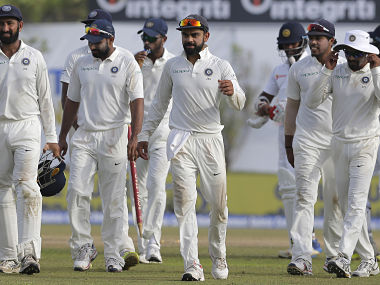 India's captain Virat Kohli leaves the ground with his teammates after their win in the first Test. AP