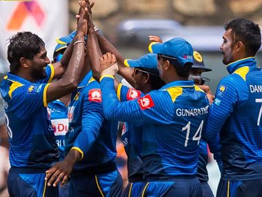 File image of Sri Lankan players. Twitter/@OfficialSLC