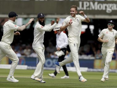 England's Stuart Broad, third left, celebrates taking the wicket of South Africa's Heino Kuhn, not pictured, during the first test between England and South Africa at Lord's cricket ground in London, Friday, July 7, 2017. (AP Photo/Matt Dunham)