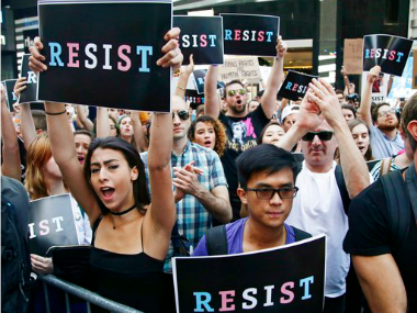 US citizens protest against Donald Trump's ban on transgenders in military services
