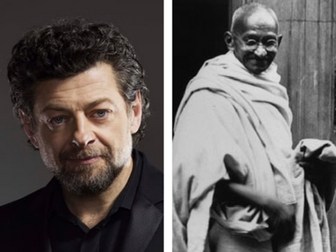 (L-R) Andy Serkis, Mahatma Gandhi. Image from Twitter and Getty Images.