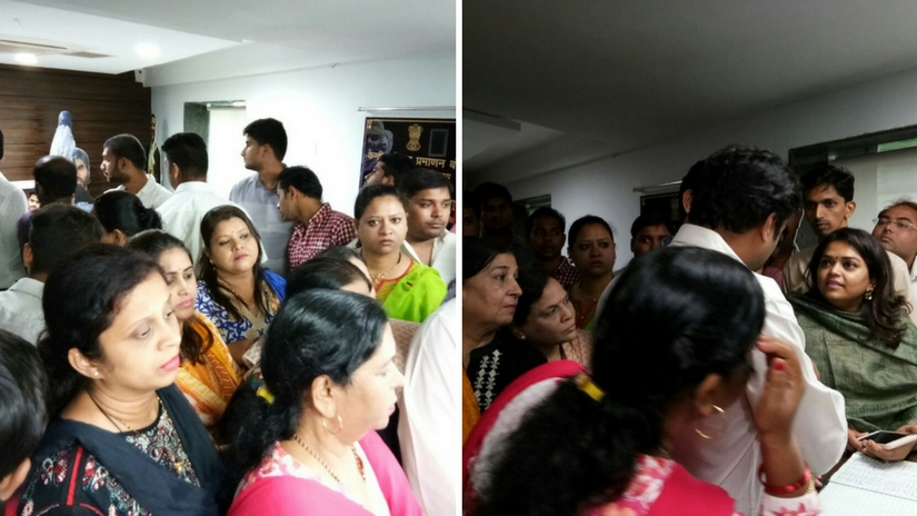 Congress Party workers outside CBFC office in Mumbai. Images via Firstpost