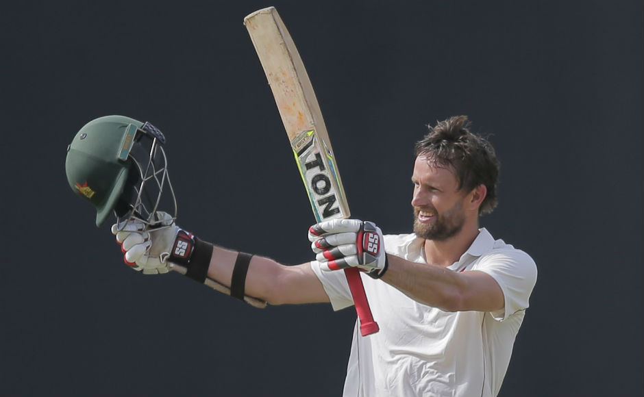 Zimbabwe's Craig Ervine celebrates scoring a century during the first day's play of the only test match. AP