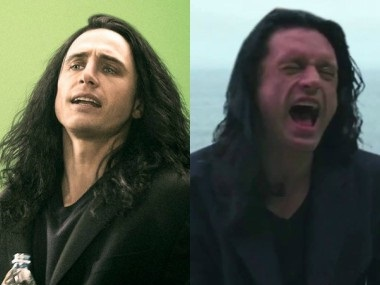 James Franco in The Disaster Artist and Tommy Wiseau in The Room. Images from Twitter