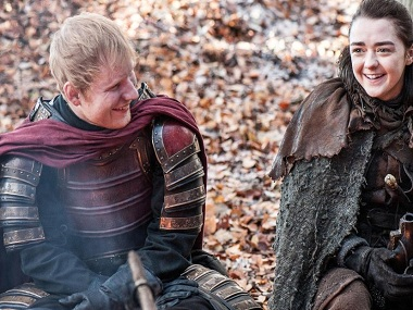 A still from Ed Sheeran's cameo on Game of Thrones.