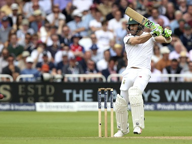 Faf du Plessis hits out on day three of the second Test against England. AP