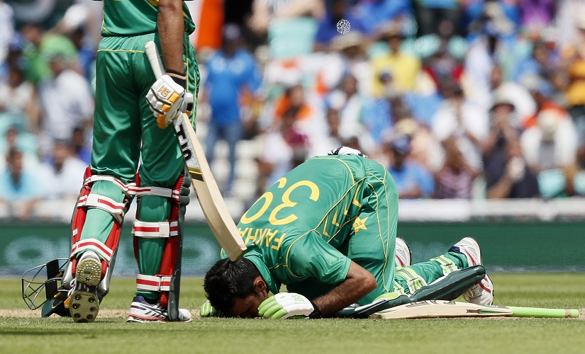 Pakistan's Fakhar Zaman kisses the ground as he celebrates his century. AP