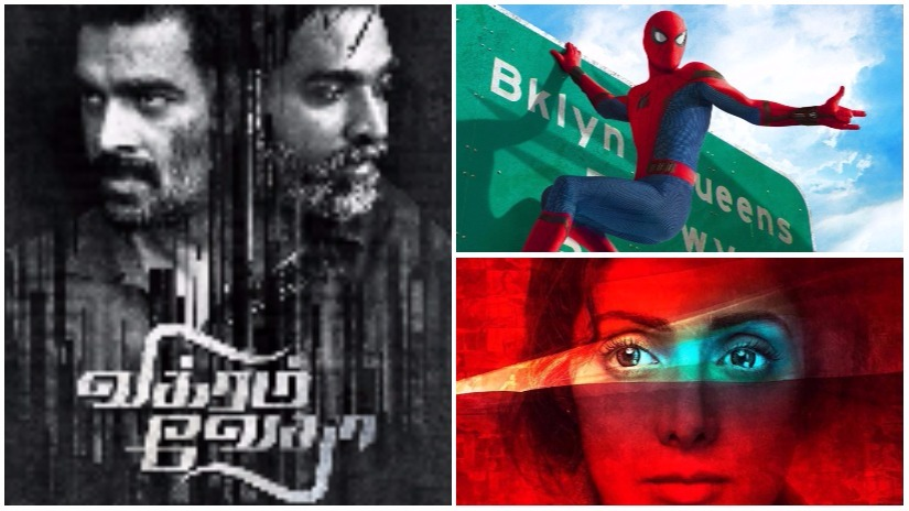 (Clockwise from above) Poster of Vikram Vedha; Spider-Man: Homecoming; Mom