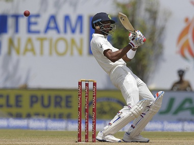Hardik Pandya plays a shot during the second day's play. AP