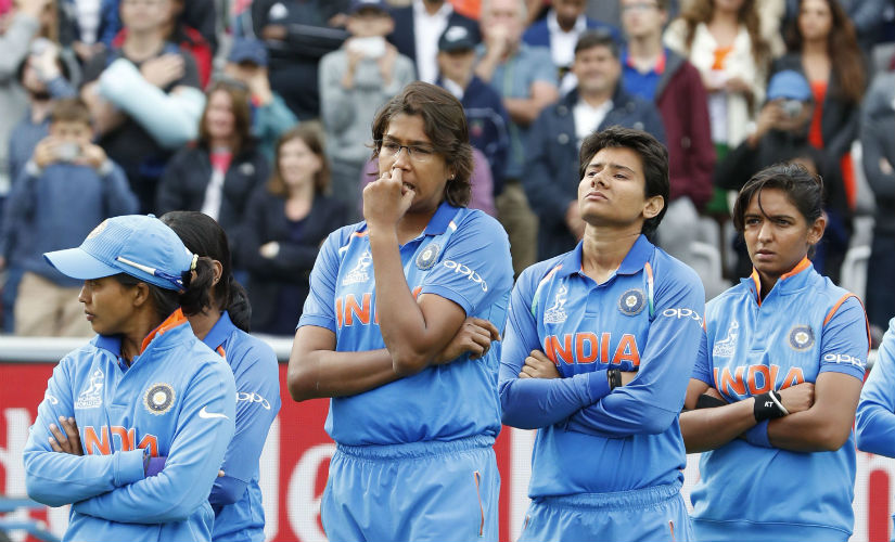Indian players are dejected after their loss to England in the final of the Women's World Cup 2017. AFP
