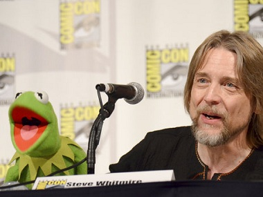 Kermit the Frog, left, and puppeteer Steve Whitmire (AP)