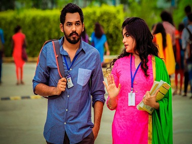 Hiphop Tamizha and Aathmika in a still from Meesaya Murukku. Twitter