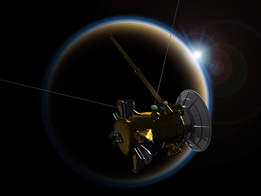 Cassini in front of Titan