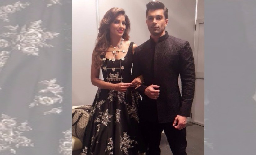 Bipasha Basu with Karan Singh Grover in her showstopper outfit for Vikram Phadnis at IIFA 2016. Image via Instagram
