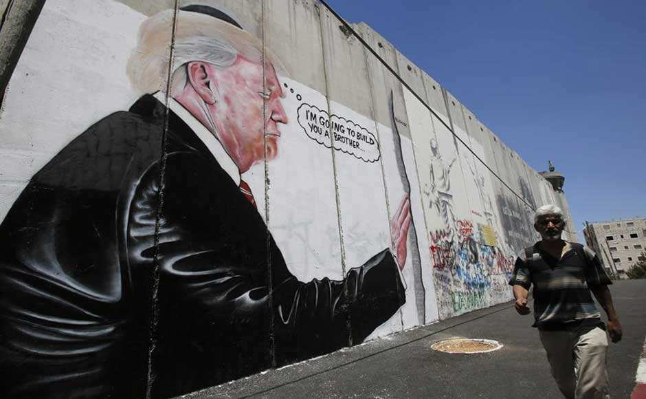 Possible Banksy murals of Donald Trump appear on Israel's West Bank separation barrier