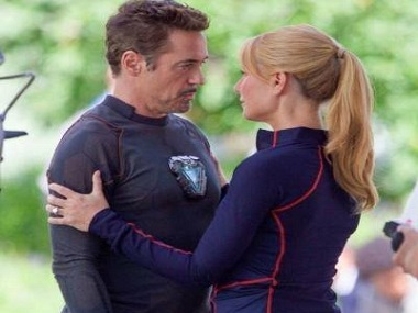 Tony Stark (Robert Downey Jr) and Pepper Potts (Gwyneth Paltrow) on the sets of Avengers 4. Image via Facebook.