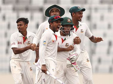 Bangladesh players celebrate after defeating Australia by 20 runs in the first Test. Image courtesy: Twitter @ICC