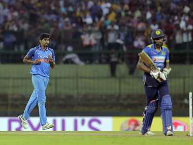 Jasprit Bumrah, celebrates the dismissal of Chamara Kapugedera in 2nd ODI. AP