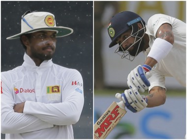 Dinesh Chandimal and Virat Kohli, the two captains. AP