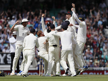 England's players celebrate their win against South Africa in the third Test. AP