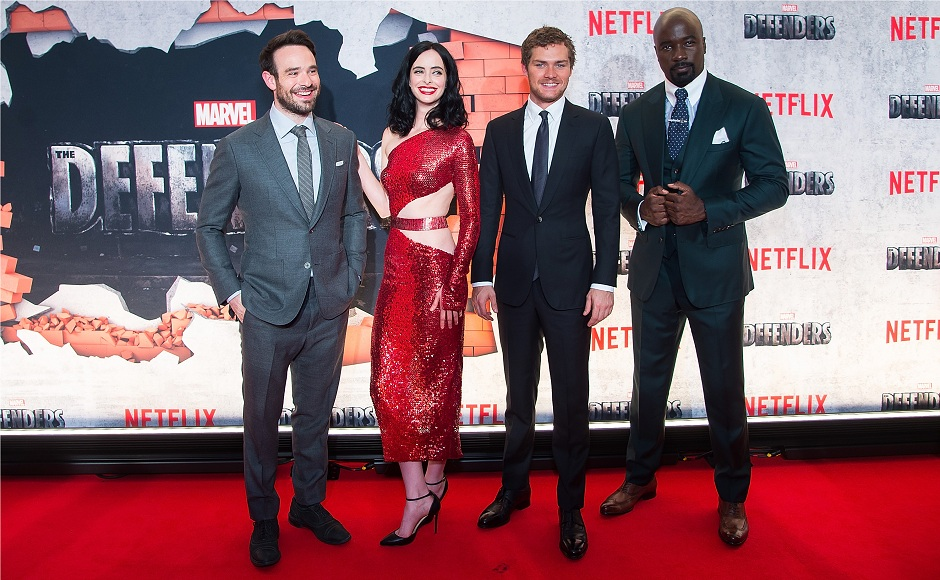 NEW YORK, NY - JULY 31: (L-R) Charlie Cox, Krysten Ritter, Finn Jones and Mike Colter attend the 'Marvel's The Defenders' New York premiere at Tribeca Performing Arts Center on July 31, 2017 in New York City. (Photo by Michael Stewart/Getty Images)