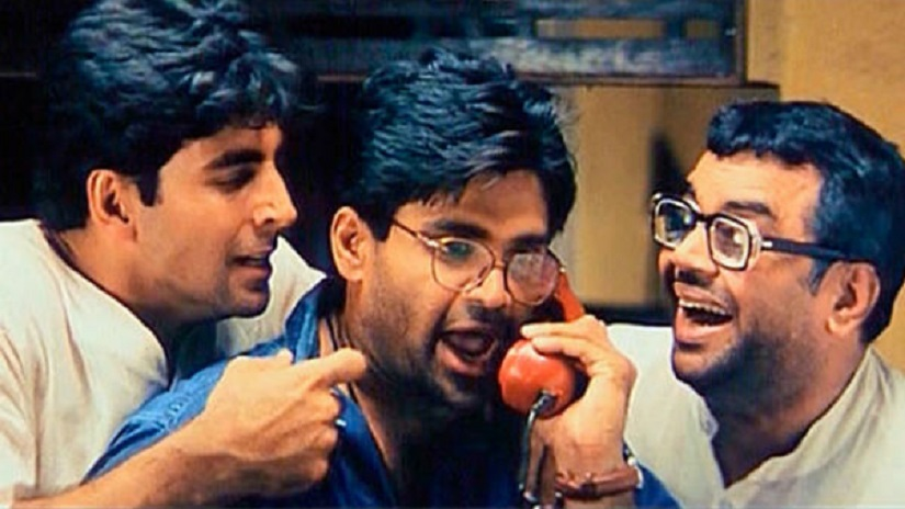 Akshay Kumar, Suniel Shetty and Paresh Rawal in Priyadarshan's Hera Pheri. Film still