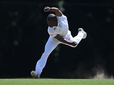 South Africa A's Junior Dala in action against India A. Image courtesy: Twitter @OfficialCSA