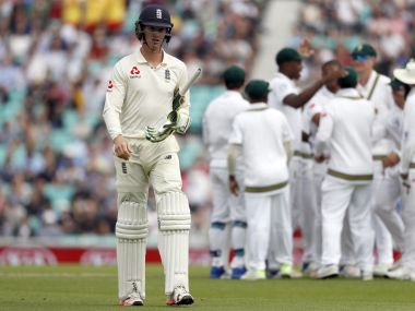 England's Keaton Jennings leaves the pitch after being caught off the bowling of South Africa's Vernon Philander on the first day of the third test match between England and South Africa at The Oval cricket ground in London, Thursday, July 27, 2017. (AP Photo/Kirsty Wigglesworth)